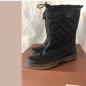 COACH Winter Boots Black Insulated Size 9M Used